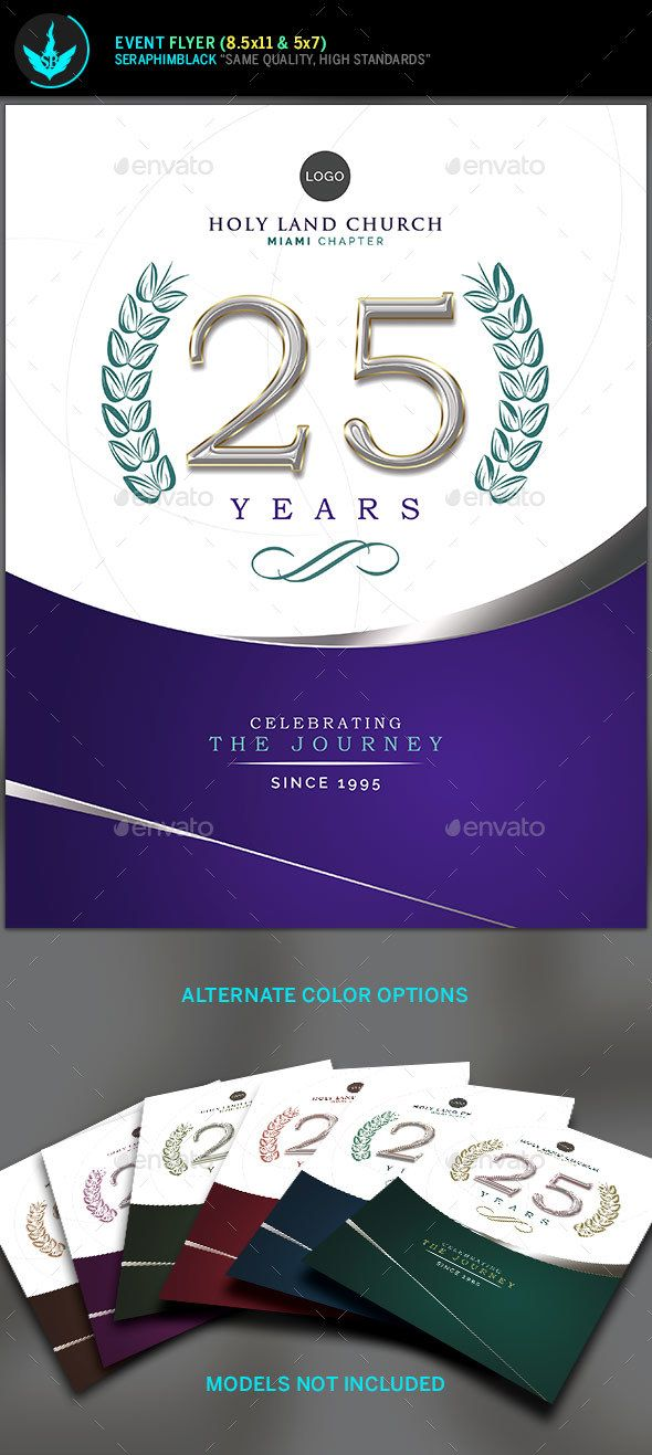 Regal Purple And Silver Church Anniversary Flyer Template