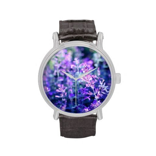Violet salvia blossom, vintage watch