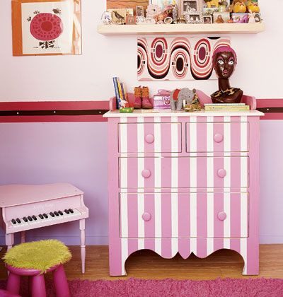 love this idea of making ordinary pieces of furniture into a playful accent