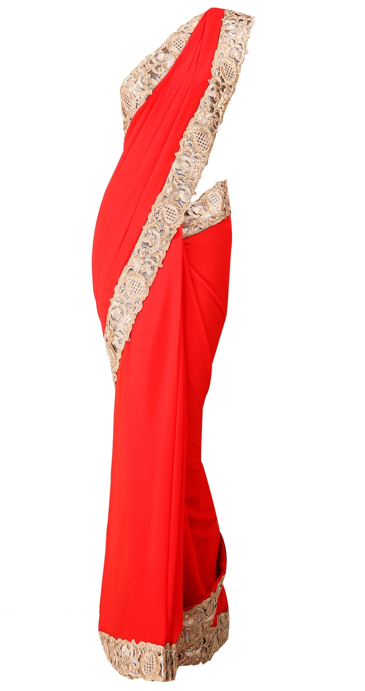 Red georgette sari with cut work zari border and golden blouse by SUNEET VARMA. Shop at https://www.perniaspopupshop.com/whats-new/suneet-varma-4176