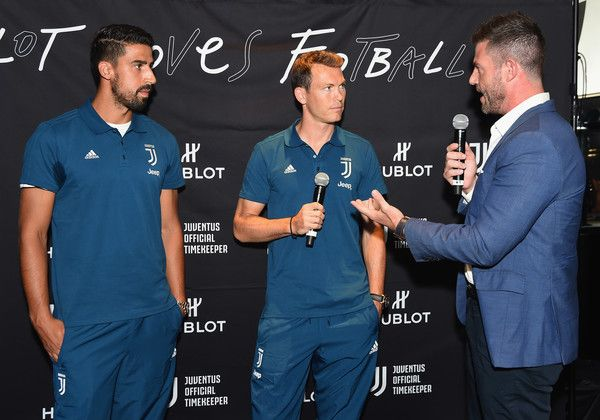 (L-R) Sami Khedira, Stephan Lichtsteiner, and Jesse Palmer attend an event hosted by Hublot to welcome the Juventus Football Club to NYC on July 20, 2017 in New York City.