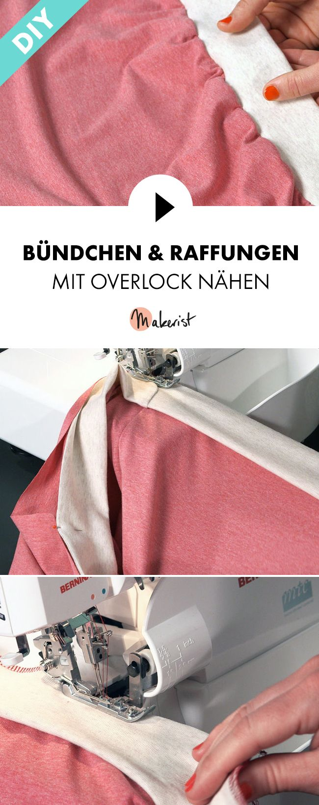 Sewing cuffs and gathers with overlock – explained step by step via …   – Nähen