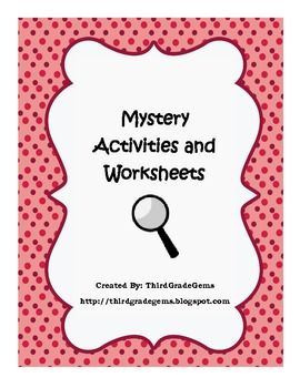 "Do you teach mysteries in your classroom?  If so, this can be used as a part of your mystery reading unit.  This product includes:*Decipher a numerical code (it spells out, ""Who is your favorite detective?"".  After students solve the code, they make up their own code to give their answer.  * Elements of a mystery definition page.*A mystery reading chart where students keep track of the elements in their mystery books.*Stage your own crime!"