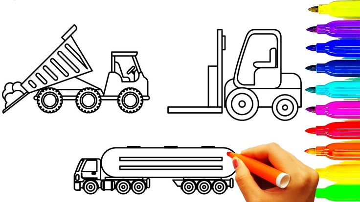 Dump truck and oil truck coloring pages, Learn colors for kids with cons...