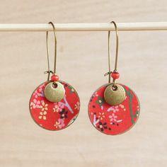 Boucles d'oreilles japonaises rouge et bronze - modèle kazami(brise charmante)
