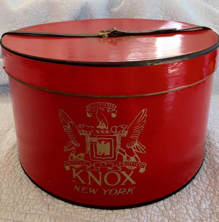Vintage Knox Hat Box red New York leather strap case storage Dobbs  Hats Knoxx by Pickersistersyorktwn on Etsy