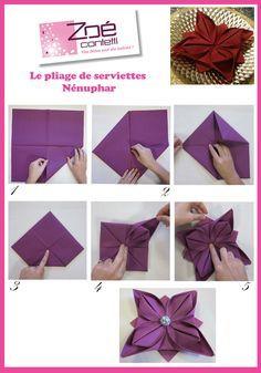 idee pliage serviette-nenuphar