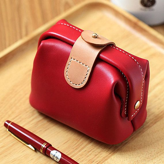100% Hand-stitched claret-red Cow Leather Makeup bag