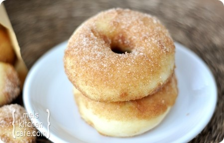 Baked Doughnuts...fluffiest, chewiest morsel of doughnut goodness, topped with cinnamon sugar.