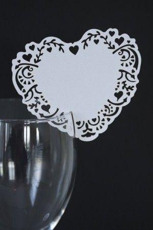 Bordkort Hjerte Romantikk Hvit