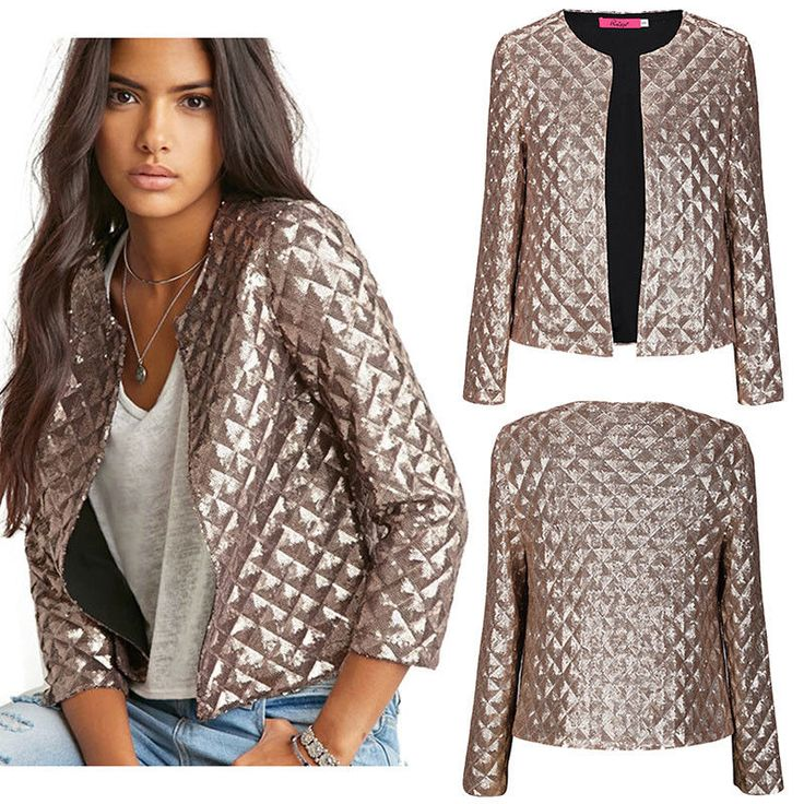 Spring Womens Sequin Coat OL Slim Blazer Bomber Trench Coat Jacket Tops S-2XL #Ruiyige #Trench #Casual