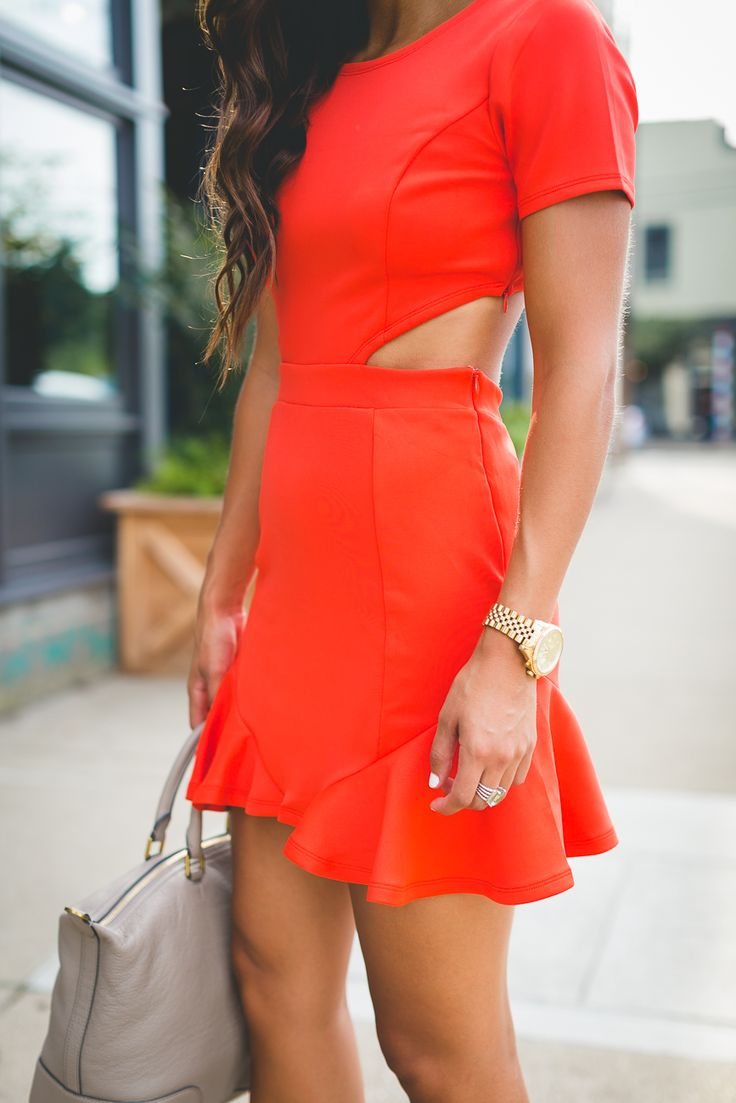 ruffle hem dress, lovers and friends dress, red cutout dress, cutout ruffle dress, cocktail dress, summer fashion, burnt orange dress, summer style, wedding guest outfits, short sleeve dress, tory burch slouchy satchel, southern fashion blogger // grace wainwright a southern drawl