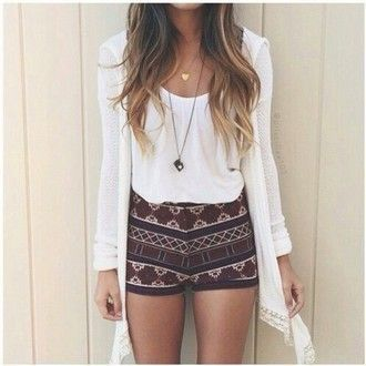 Teen fashion blog - IDK, I'd wear it. I love the look of the longish sweater with the Boho Shorts ensemble.