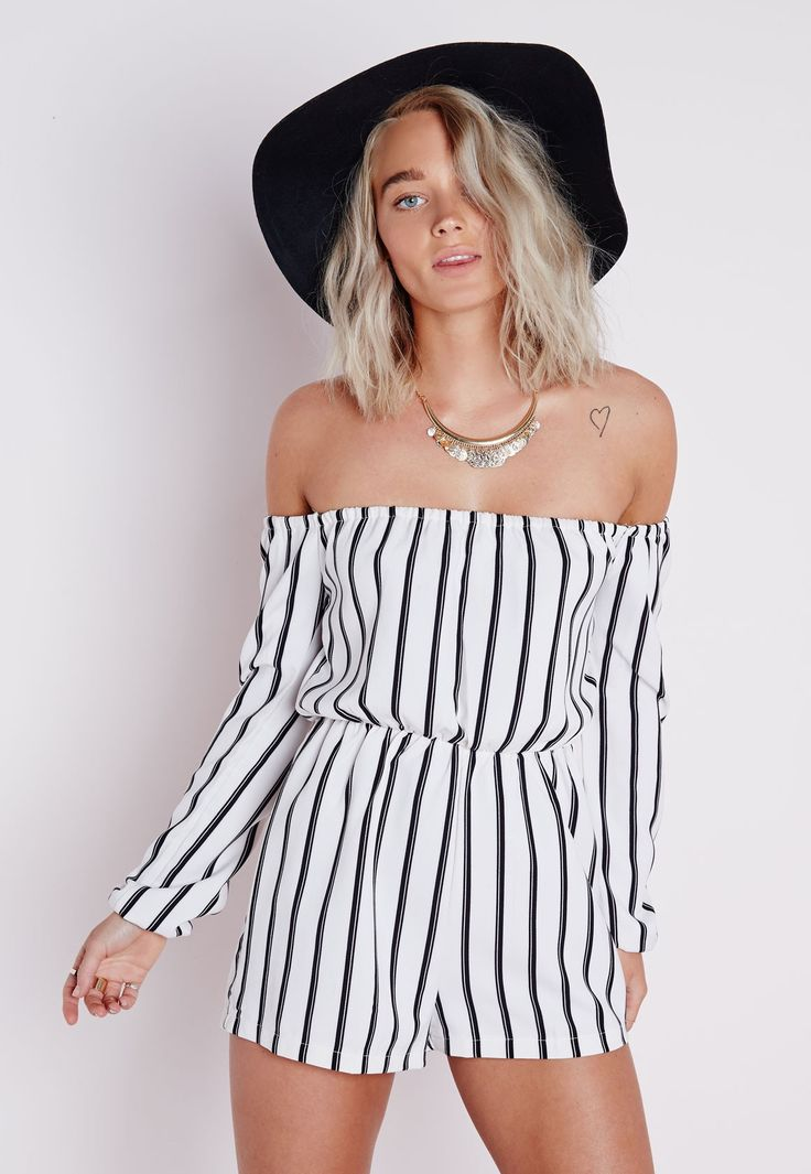 Petite Striped Bardot Playsuit White - Petite - Petite Playsuits - Missguided