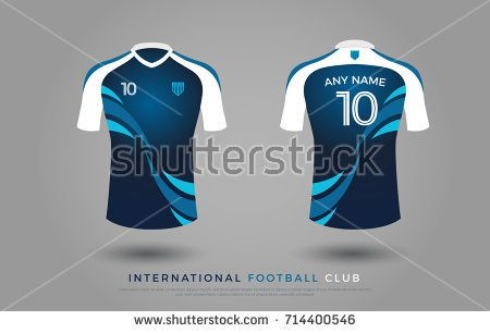 6849427bb soccer t-shirt design uniform set of soccer kit. football jersey template  for football club. blue and white color, front and back view soccer shirt  mock up.