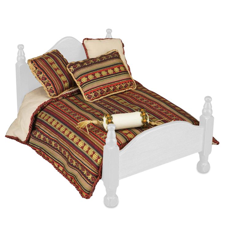 Maroon Queen Bed Comforter Set | Mary's Dollhouse Miniatures