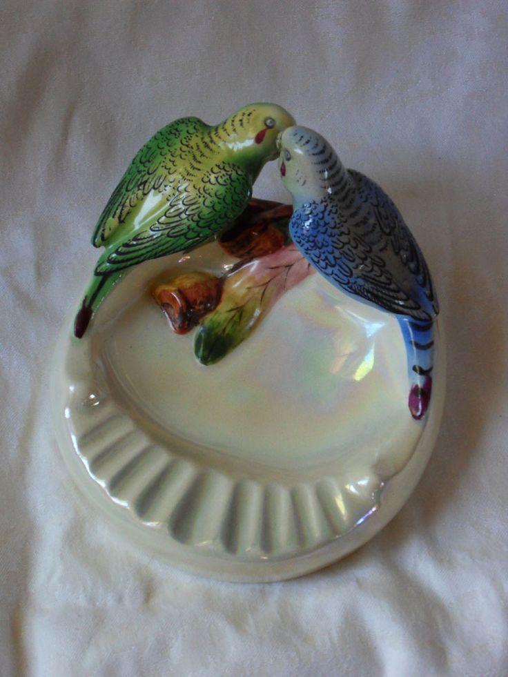 Wembley ware ashtray-Australian budgerigars
