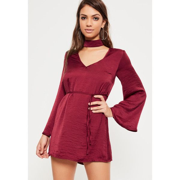 Missguided Petite Exclusive Burgundy Hammered Satin Choker Neck Dress ($54) ❤ liked on Polyvore featuring dresses, plum, night out dresses, plum dress, petite party dresses, going out dresses and petite dresses