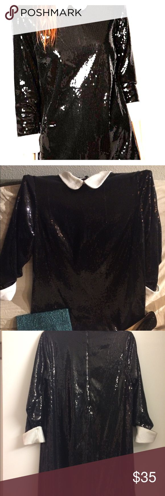 """ASOS black sequin dress with Peter Pan collar- Size: 8p Bust:  34"""" Length:  34"""" Material: 100 % polyester  Only worn twice, excellent condition. A few loose strings- still has extra thread and sequins baggies attached to cleaning tag ASOS Dresses Mini"""