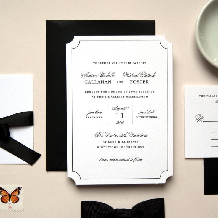 Black Tie Wedding Invitation Wording: Elegant Black And White Die Cut Letterpress Wedding