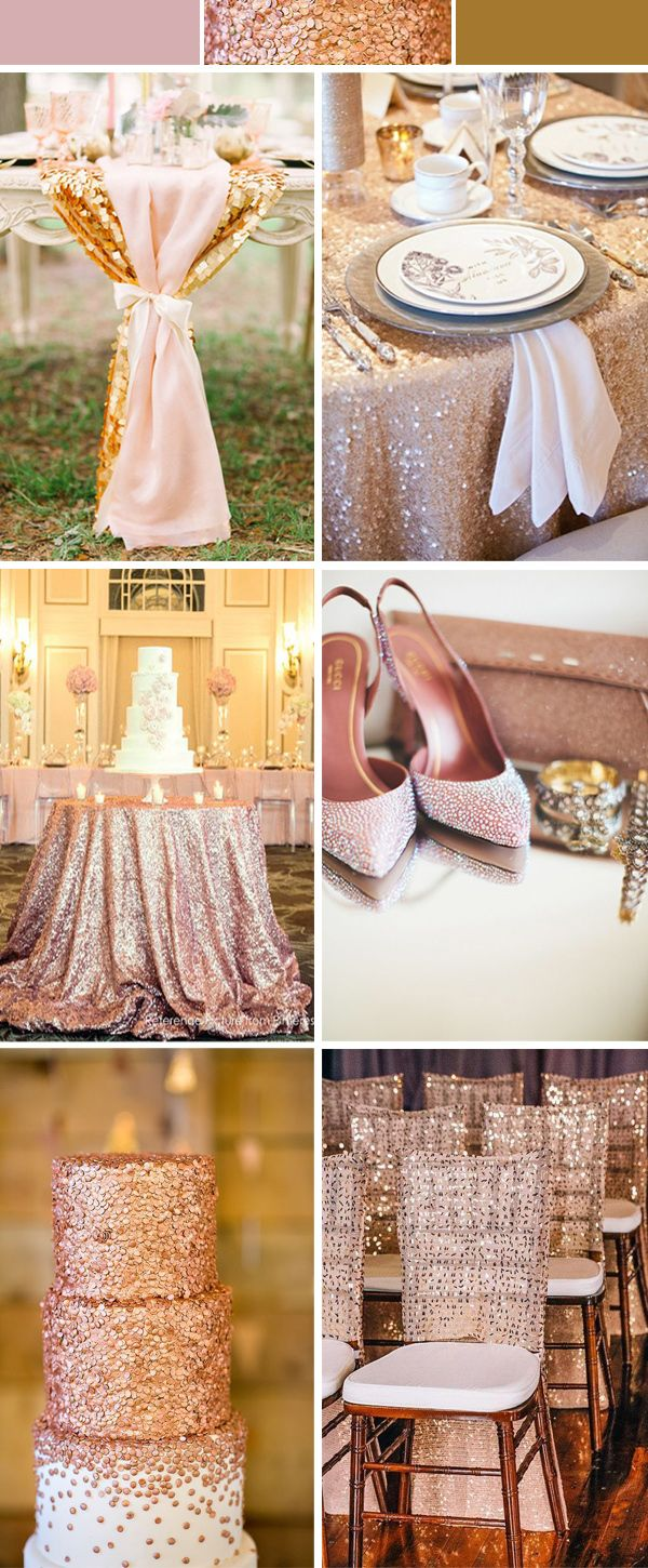 rose wedding color ideas with glitters and sequins