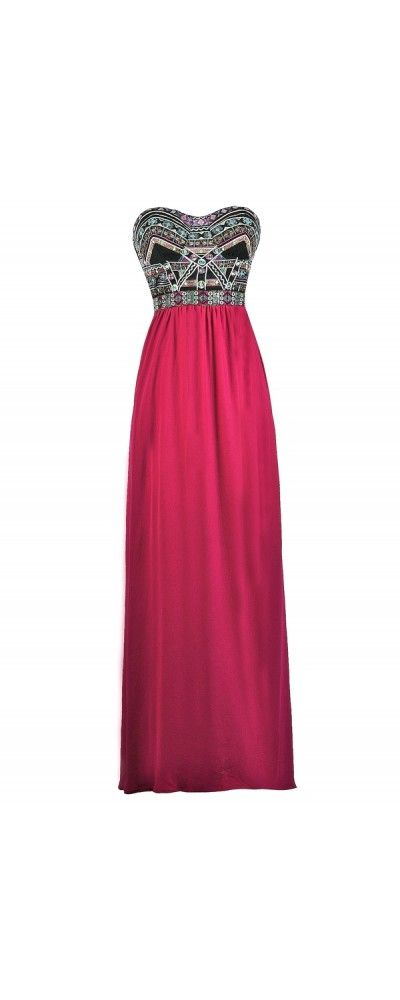 Lily Boutique Abundance of Embroidery Strapless Maxi Dress in Magenta, Magenta Embroidered Maxi Dress, Cute Maxi Dress, Pink Embroidered Maxi Dress, Black and Pink Embroidered Maxi Dress, Cute Summer Maxi Dress www.lilyboutique.com