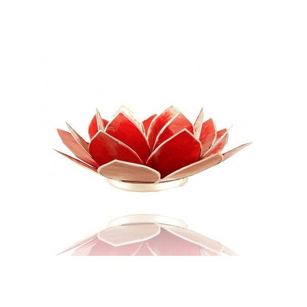 Bougeoir fleur de lotus couleur rouge