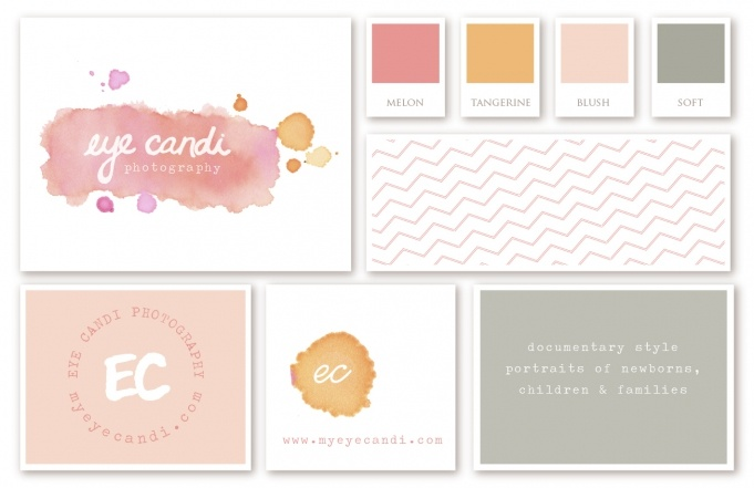 Another color family for the watercolor branding (from myeyecandi.com and the Icing on the Paper blog)