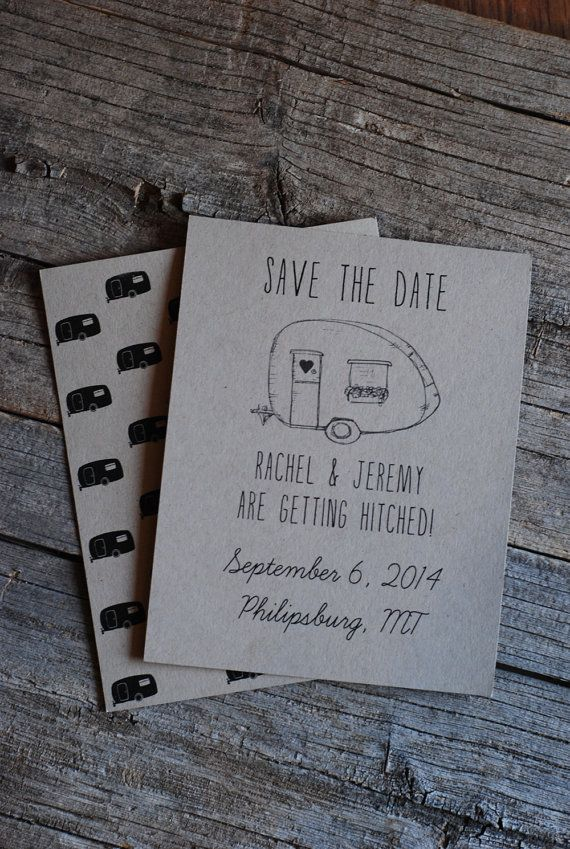 Retro Wedding Save the Date - 3 Styles Available- Party Invitation - RV Camper - VW Bug - Volkswagon - Vintage Trailer - Hipster on Etsy, $1.25