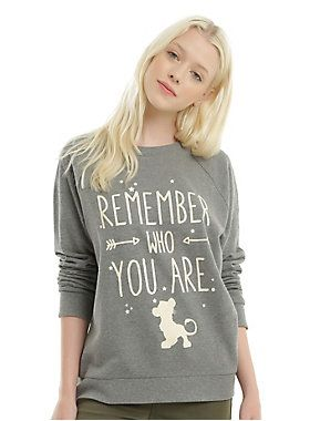 "<div><i>Remember who you are.</i></div><div><i><br></i></div><div>This poignant phrase aren't just words Simba should hear. They're important for everyone to remember. Heather grey pullover sweatshirt from Disney's The Lion King with a memorable quote from Mufasa printed on front. </div><div><ul><li style=""LIST-STYLE-POSITION: outside !important; LIST-STYLE-TYPE: disc !important"">60% cotton; 40% polyester</li><li style=""LIST-STYLE-POSITION: outside !important; LIST-STYLE-TYPE: disc !imp..."