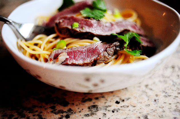 Beef Noodle Salad -  ***Ben loves taking this for lunches.  It's super fast and easy to make and taste really nice cold.  Been making it with Vietnamese noodles.  Very tasty!!****