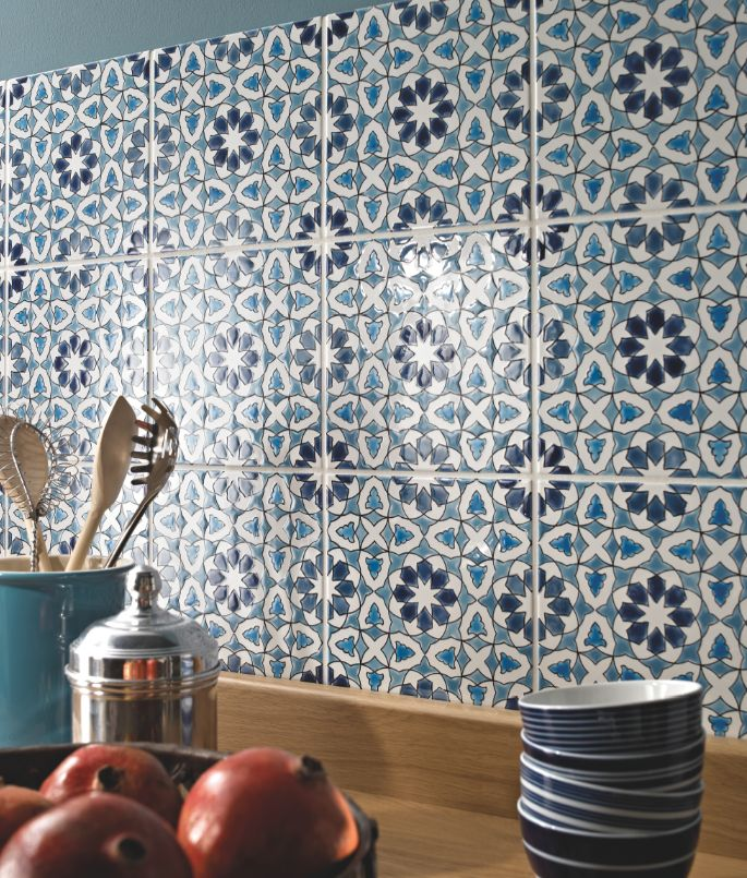 Make a Mediterranean-style splashback out of these Andalucia tiles by Fired Earth.