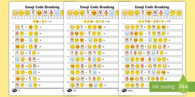 Emoji Maths Code Breaking Worksheets Ks2 Emoji Math Online Math Games Coding Code breaking worksheets