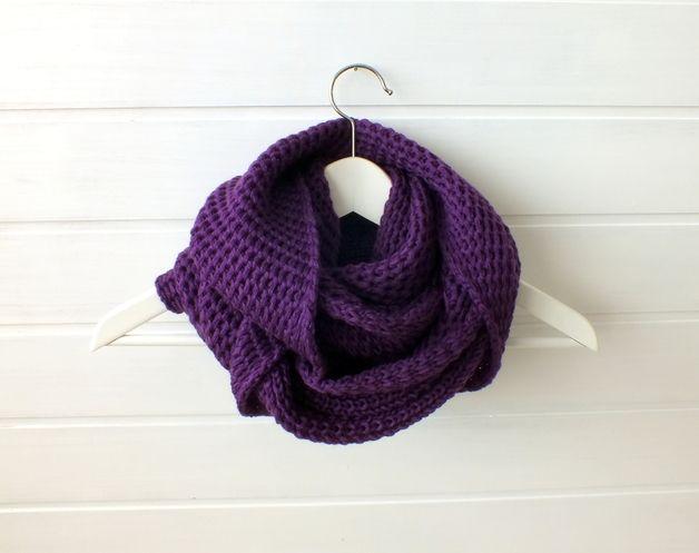 Violet hand knitted infinity loop scarf
