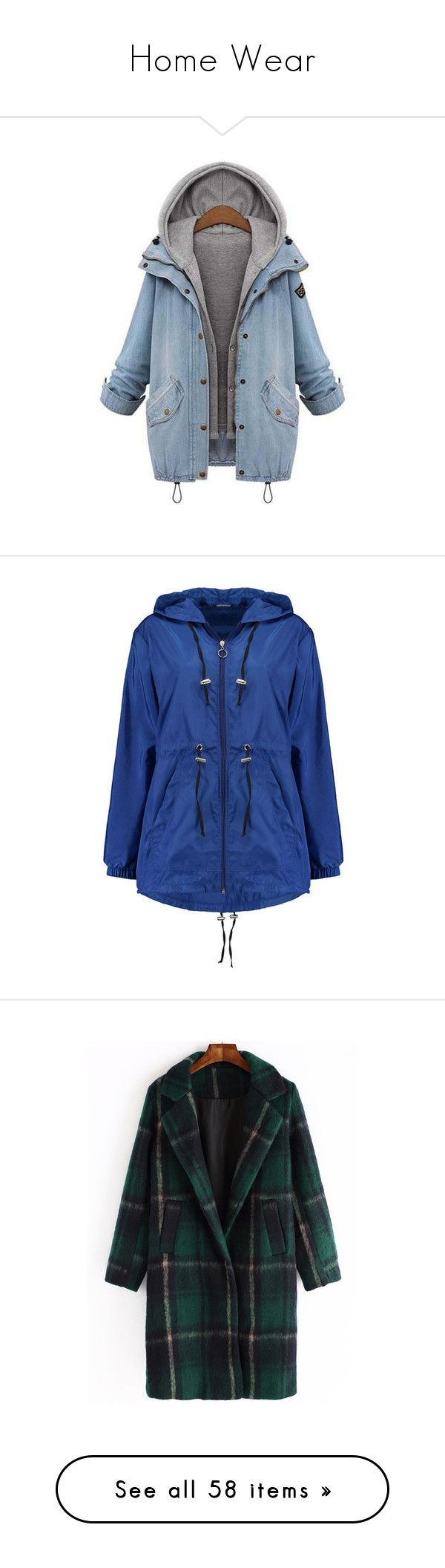 """Home Wear"" by suellenborinhoran ❤ liked on Polyvore featuring outerwear, coats, jackets, blue coat, denim coats, blue raincoat, hooded puffer coats, puffer coat, longline coat and hooded coat"