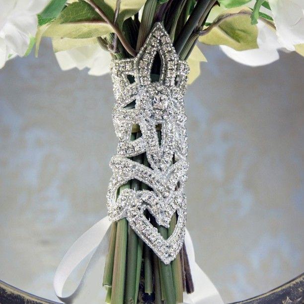 Corset Style Rhinestone and Silk Bouquet Wrap. Interesting Idea.
