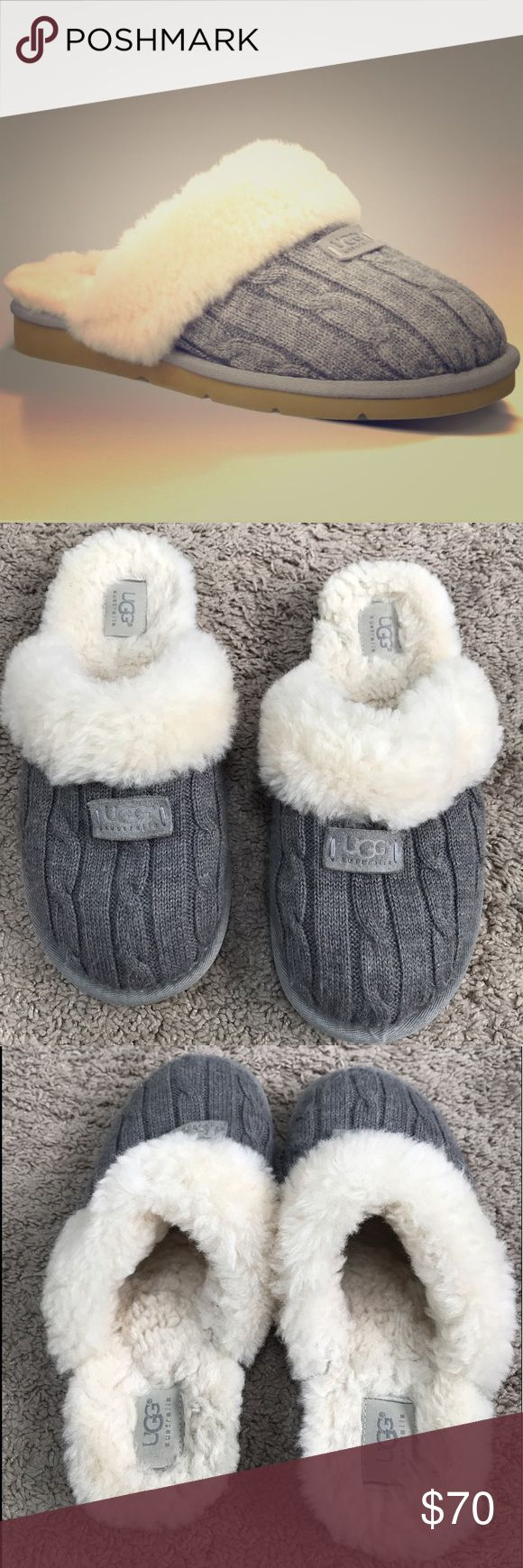 Grey Ugg Slippers Size 8 These Ugg Grey Slippers are adorable and comfy as can be!! They have only been worn a handful of times and have a ton of life left to them! UGG Shoes Slippers