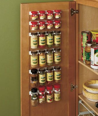 """$4.95per set Spice Storage Solutions.. 6-Pc. Spice Holder Clip Set holds your spice bottles on the inside of a cabinet or pantry door. Each clip (approx. 8-3/4"""" x 1-1/2"""" x 1"""") holds 4 bottles, so this set can organize up to 24 different spices. Installs in minutes with adhesive backs.... these would be handy!"""