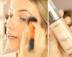 L'Oreal True Match Foundation   Spring Drugstore Makeup Tutorial, check it out at http://makeuptutorials.com/glowing-drugstore-makeup-tutorial