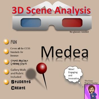 Make your Medea Unit dynamic with this creative co-operative learning project. My 3-D Scene Analysis allows the student to pick apart a scene from this Greek tragedy, isolate significant literary elements, and present them in an engaging way. The activity is standards based and it will lead the student team through conversations about characterization, theme, setting, tone, word choice, and mood discourse.