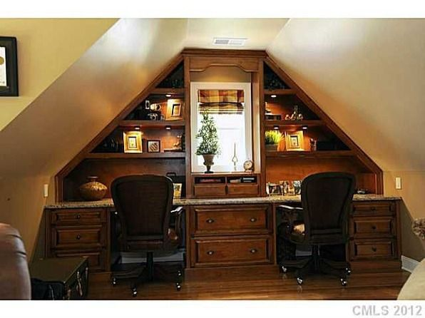 """Nice """"his"""" and """"hers"""" desk unit in bonus room.--I love this idea depending on your walls??"""