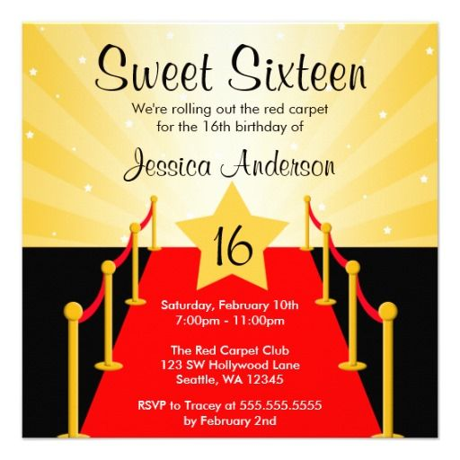 26 best sweet sixteen invitations images on pinterest birthday red carpet hollywood sweet 16 birthday party invite stopboris Image collections