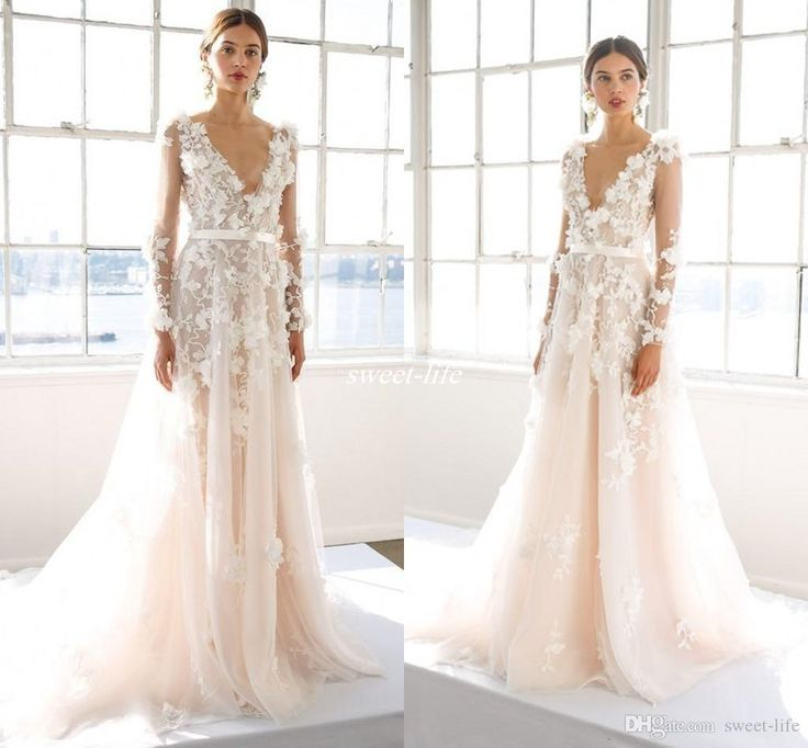 New Marchesa 2016 Illusion Long Sleeve A Line Wedding Dresses Deep V Neck Fl Lique
