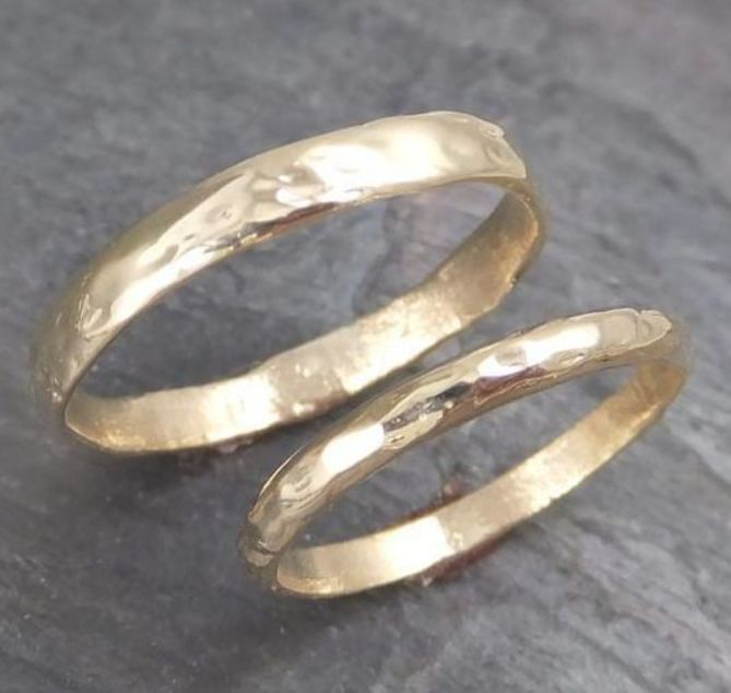 His And Hers Custom Wedding Bands Set 14k Gold Textured Wedding Rings Recycled Gold One Of A K Pink Wedding Rings Expensive Wedding Rings Textured Wedding Ring