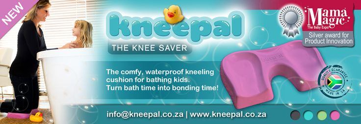 The KNEEPAL is a comfortable, moulded kneeling cushion for bathing kids – no more sore knees, sore backs and dirty wet towels to kneel on while we bath our kiddies!