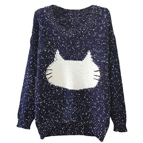 Womens Loose Cat Face Sweater Jumper, Small, Blue Fancy Dress Store http://www.amazon.com/dp/B00N78SHXO/ref=cm_sw_r_pi_dp_x6sbub1C5SXZJ