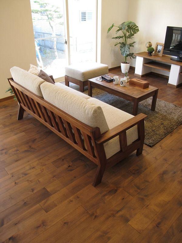 アルダー材のウォールナット色の床材にウォールナット無垢材の家具で統一したLD空間をご紹介! の画像|家具なび ~きっと家具から始まる家づくり~