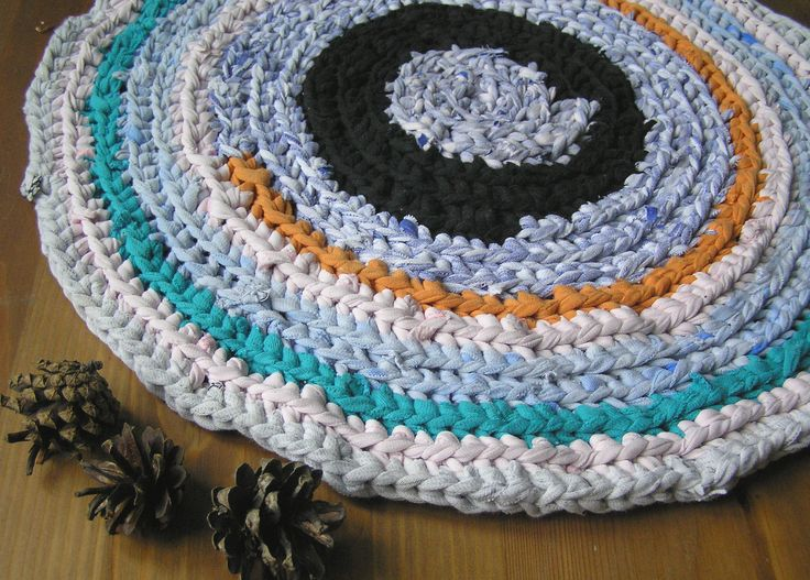 Blue seat mat Crochet cats bed Crochet round blue Play mat, Small rag rug, Multicoloured multicolored small round crochet cat cat mat, Chair seat pad, Cats bed beds, Handmade rug, Chair cushion, Blue upcycled mat by SewingTune