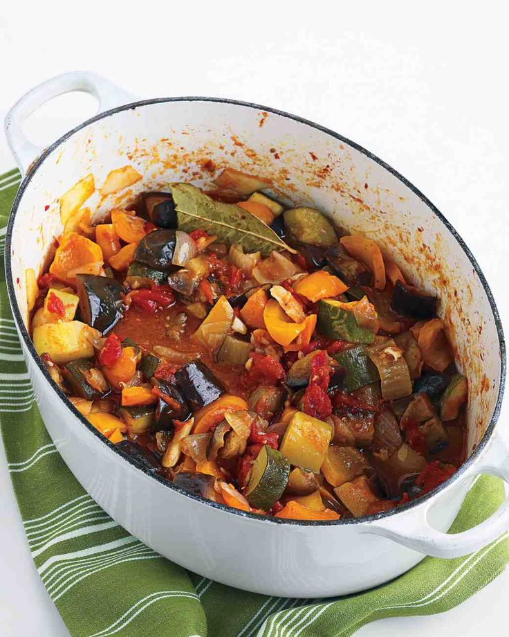 Ratatouille recipe ~ 28 oz can whole peeled tomatoes, EVOO, 1 large eggplant (1 lb), peeled & cut into 1-inch cubes; 2 large yellow onions, diced; 1 head garlic, cloves smashed & peeled; 2 bell peppers, diced; 2 large zucchini (1 pound total), diced large; 1 bay leaf; 1 Tbsp fresh marjoram or oregano leaves; 2 to 3 Tbsp red-wine vinegar; salt & pepper to taste #vegetable