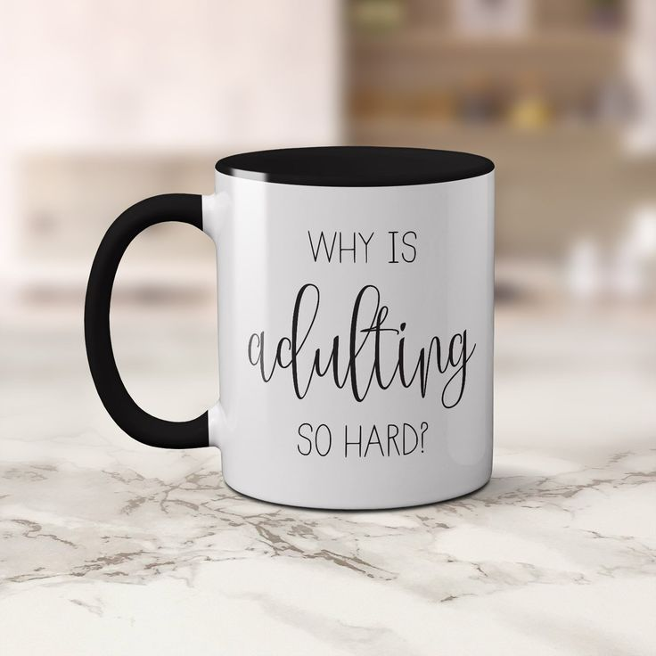 "A fun coffee mug with the words ""Why is Adulting so hard?"". This is a 11oz white coffee cup with a black handle and it is also black along the rim and inside. I have used a gorgeous script writing for the word Adulting.  A beautiful mug for all coffee lovers."